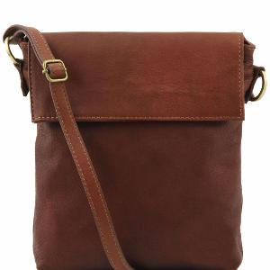 Sac Bandoulière Homme Cuir Marron -Tuscany Leather-