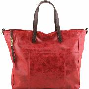 Sac Business Cuir Vieilli Femme Rouge -Tuscany Leather -