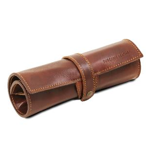 Etui Cuir Souple pour Stylos Marron  -Tuscany Leather-