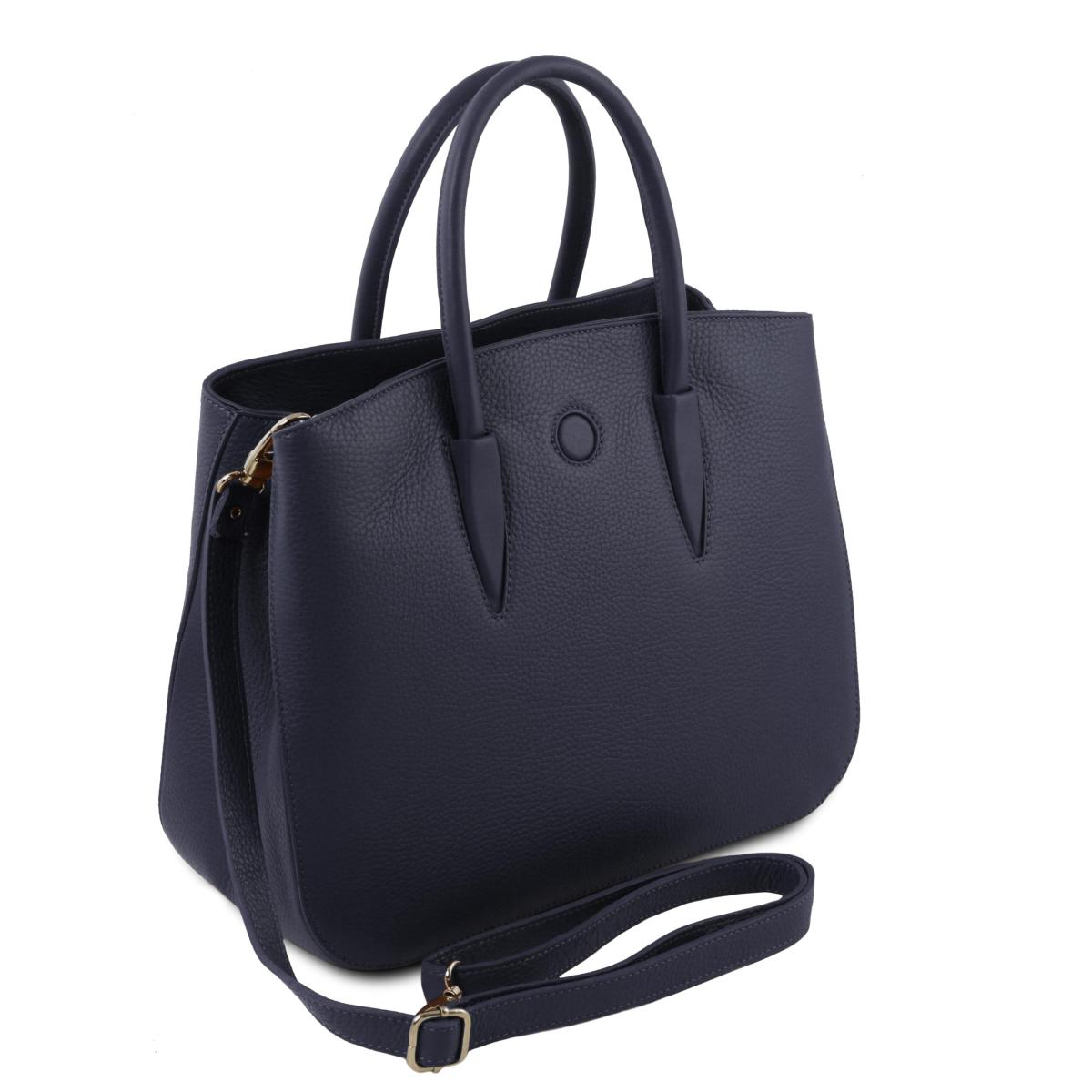 93d14595ad04 Sac Cabas Cuir Souple Femme Bleu - Tuscany Leather -