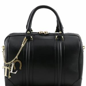 Sac Mode Cuir Noir Bowling Pour Femme -Tuscany Leather-