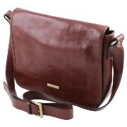 Sac Bandoulière Besace Cuir Homme Marron -Tuscany Leather-