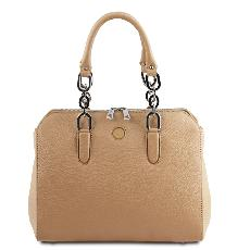 Sac Cuir double bandoulière Femme Beige - Tuscany Leather -