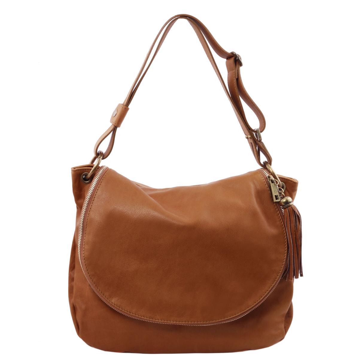 Grand Sac Cuir Bandoulière Besace Femme Marron -Tuscany Leather-