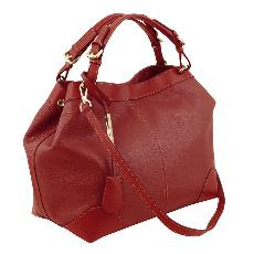 Sac Fourre-Tout Cuir Femme Rouge - Tuscany Leather -