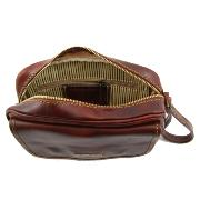 Sacoche Pochette Cuir Homme Marron  -Tuscany Leather-
