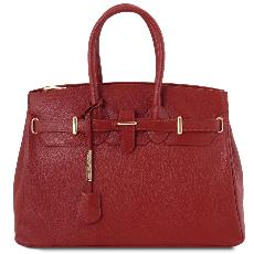 Sac Cuir Femme avec Sangle Rouge  - Tuscany Leather -