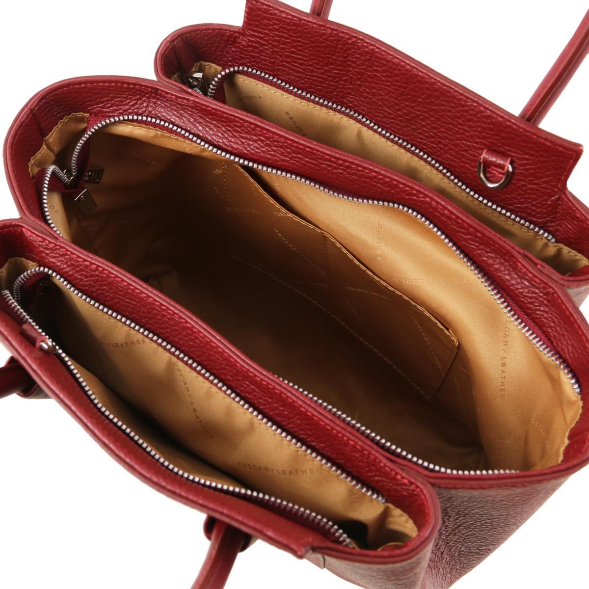 af9bf5f767 Sac à Main Cuir Souple Femme Rouge - Tuscany Leather -