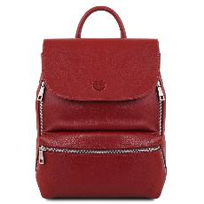 Sac à Dos Cuir Compact Femme Rouge - Tuscany Leather -