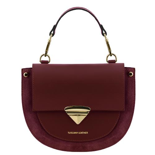Sac à Main Cuir Daim Femme Bordeaux  - Tuscany Leather -