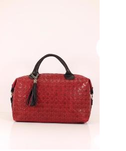 Grand Sac Bowling Cuir Rouge Bandoulière Femme -LUCY-