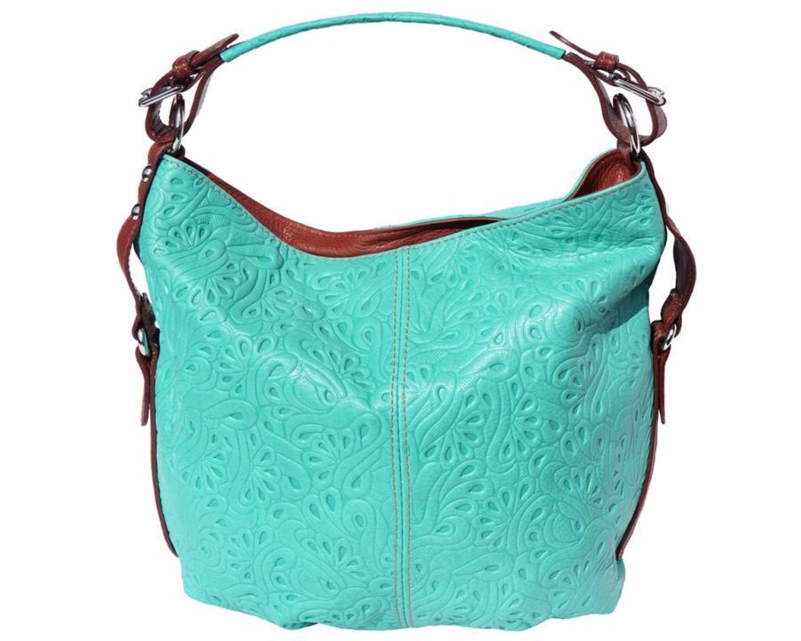 Sac Bleu Turquoise Fourre Tout Cuir Mode Femme 2 Compartiments