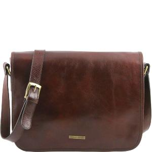 Sac Bandoulière style Besace Cuir Homme Marron -Tuscany Leather-