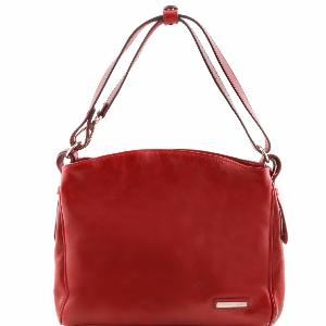 Sac Bandoulière Cuir Femme 2 Compartiments Rouge -Tuscany Leather -