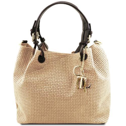 tout neuf 50fda 315f1 Soldes Sac Cuir Daim Tressé Femme Beige - Tuscany Leather -