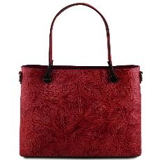 Sac Cuir Rouge Motifs Femme  - Tuscany Leather -