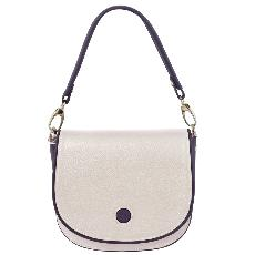 Sac Besace Bandoulière Cuir Femme Blanc - Tuscany Leather -