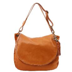 Grand Sac Cuir Bandoulière Besace Femme Camel - Tuscany Leather -