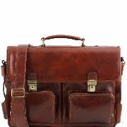 Cartable Cuir avec Poches Marron - Tuscany Leather -