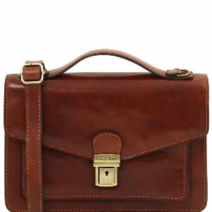 Sac Bandoulière Homme Marron Cuir Tuscany Leather