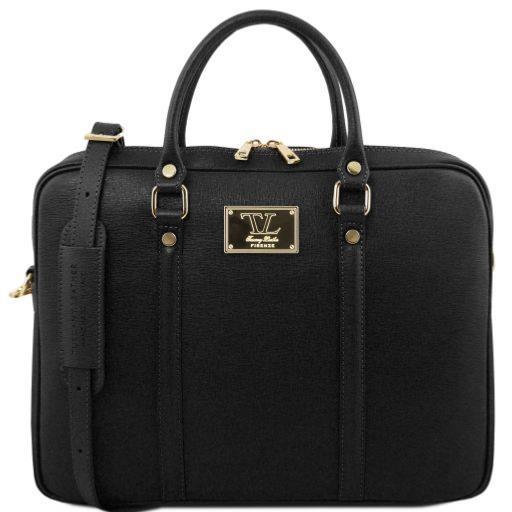 diversifié dans l'emballage styles de mode nouvelles photos Sacoche Porte Ordinateur Cuir Femme Noir - Tuscany Leather -