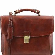 Cartable Serviette Porte Ordinateur Cuir Marron -Tuscany Leather-
