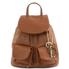 Sac à Dos Cuir Souple Tressé Marron Femme - Tuscany Leather -