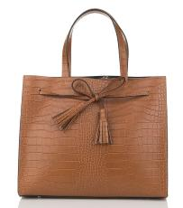 Sac Cabas Cuir Croco Femme Marron - First Lady Firenze -
