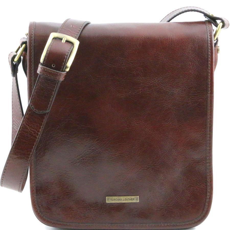 meilleure sélection bdf19 156cd Sac Bandoulière Cuir Homme 2 Compartiments Marron -Tuscany Leather-