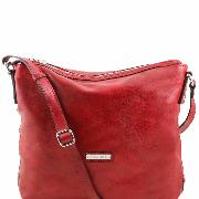 Sac Bandoulière Rouge Cuir Femme 2 Compartiments - Tuscany Leather-