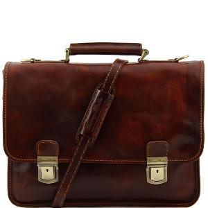 Cartable Cuir Retro Homme Femme 2 Compartiments  - Tuscany Leather -