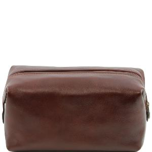 Trousse de Toilette Cuir Grand Modèle Marron-Tuscany Leather-