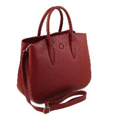 Sac Cabas Cuir Souple Femme Rouge - Tuscany Leather -