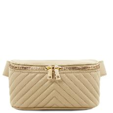 Sac Banane Cuir Souple Femme Beige - Tuscany Leather -