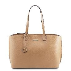 Grand Sac Cabas Cuir Femme Beige - Tuscany Leather -