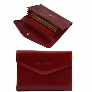 Portefeuille Porte Monnaie Rouge Cuir Femme -Tuscany Leather-