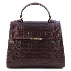 Petit Sac Cuir Croco Femme Bordeaux - Tuscany Leather -