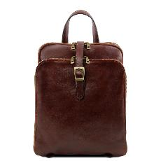 Sac a Dos en Cuir 3 Compartiments Marron  -Tuscany Leather-