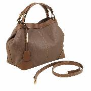Grand Sac Cuir Souple Fourre-Tout Femme Marron - Tuscany Leather -