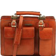 Sac Cartable Cuir Femme Poches Miel  - Tuscany Leather -