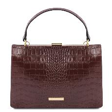 Solde Sac Cuir Croco Chic Femme Bordeaux - Tuscany Leather -