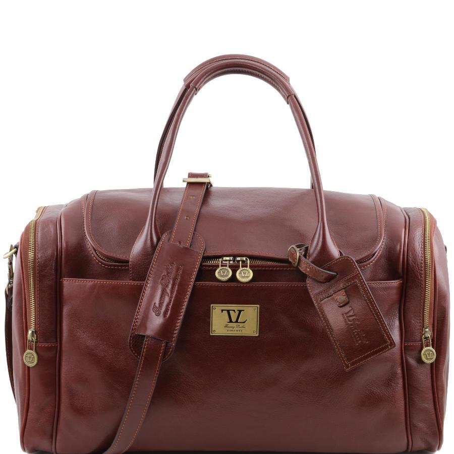 Tuscany Leather - TL Voyager - Sac de voyage en cuir avec poches aux côtés - Marron QADVl04F21